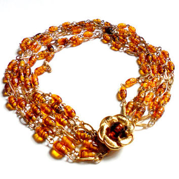 Vintage Glass Bead Torsade Choker Bib Necklace Amber Art Glass Lamp Work Flower Clasp Gold Tone