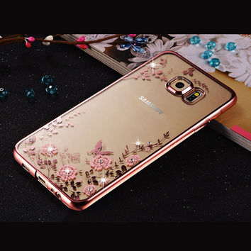 Rhinestones Soft TPU Plating Cases For Samsung Galaxy A3 A5 2016 Case A7 Samsung Galaxy J1 J5 S7 edge Cases Galaxy J3 S3 S5 Case