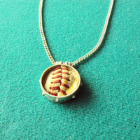 Used game ball pendant necklace Philadelphia Phillies sterling silver plated memory keeper personalized soccer mom gift