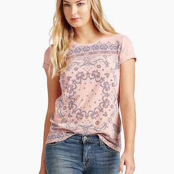 Lucky Brand Bandana Tee Womens - Coral Pink