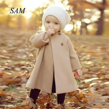 Baby Girl Coat  winter Overalls For Girls Autumn Winter Girls Kids Baby Outwear Cloak Button coat baby girl clothes