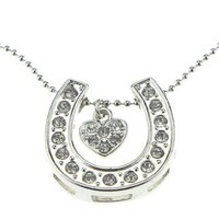 Sparkling Silver Iced Out Crystal Lucky Horseshoe Heart Pendant Necklace Stylish Gift Jewelry for Women