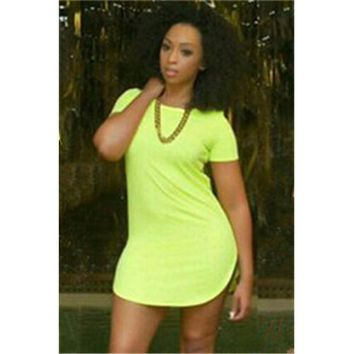 Casual All-match Irregular Hem UltraShort Dress Fluorescent Green