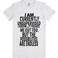 I Am Currently Unsupervised Tee-Female White T-Shirt