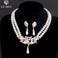 High Quality Pearl  Earrings and Necklace sets For Women Fine Design Wedding Party Lady's Bridal Jewelry Set Bijoux Femme D009