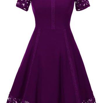 A| Chicloth  Elegant Women Round Neck Vintage Lace Dress Homecoming Dress