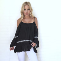 You're My Muse Off Shoulder Blouse In Black