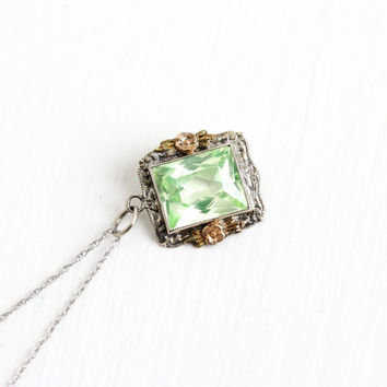 Antique 14k Gold Art Deco Created Green Spinel Pendant Necklace - Vintage 1920s Three Tone White, Yellow, Rose Gold Fine Green Gem Jewelry