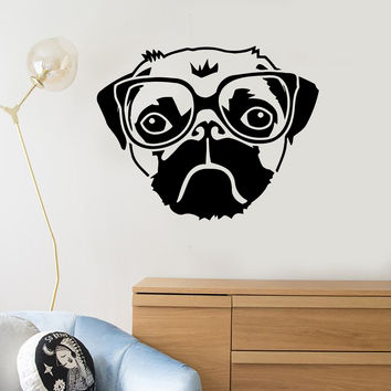 Vinyl Wall Decal Funny Head Dog Pet Animal Glasses Stickers Unique Gift (ig225)
