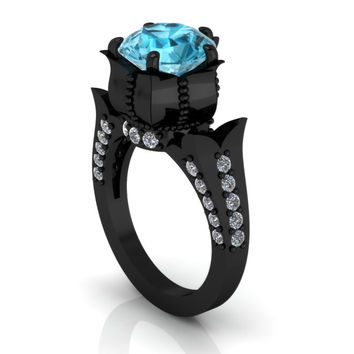 2 Carat Aquamarine Gothic Engagement Ring 14 k Black Gold