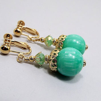 Green Earrings, Light Green Drop Earrings, Spring Jewelry, Made with Vintage Lucite Beads, Clip on Earrings Lever Back Hook