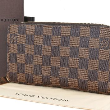 Auth LOUIS VUITTON Zippy Long Wallet Damier Ebene Zippered Coin Purse #29073B