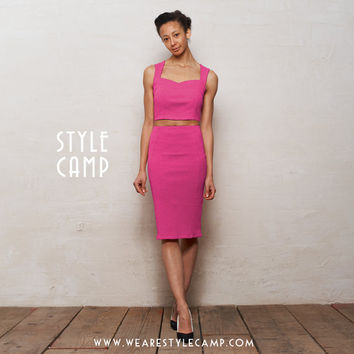 Kirsten Two Piece Bralet and Pencil Skirt Set in Hot Pink