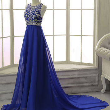2016 Royal Blue Sexy Prom Dress Black Chiffon Backless Elegant Long Prom Dresses with Crystals