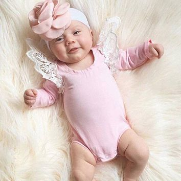 Baby Girl Cotton Long Sleeve Jumpsuit Bodysuit Chidlren Lace Clothes Outfit Newborn Body suit