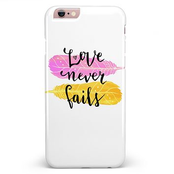 Yellow and Pink Love Never Fails iPhone 6/6s or 6/6s Plus Clipit Hard Case