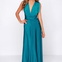 Always Stunning Convertible Teal Maxi Dress