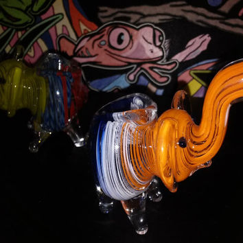 Adorable His and Hers Matching Glass Pipe Elephants - FREE Shipping for USA!!