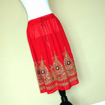 Gypsy Skirt: Knee Length Boho Indian Skirt, Bohemian Red Sequin Skirt Cover Up