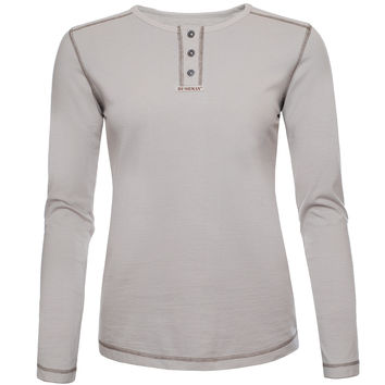 BUSHMAN BONITA WOMEN'S COTTON HENLEY LONG SLEEVE T-SHIRT