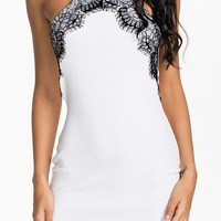 Halter Lace Applique Bodycon Mini Dress