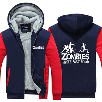 Mens Hoodie Innovation Pattern Thicken Fleece Zombies Fast Food Winter Coat US EU Plus Size