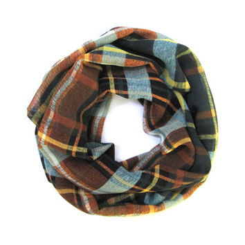 Child's Plaid Scarf Kid's Fall Scarf Cute Toddler Scarf Green Rust Teal Girl Scarf Ready To Ship