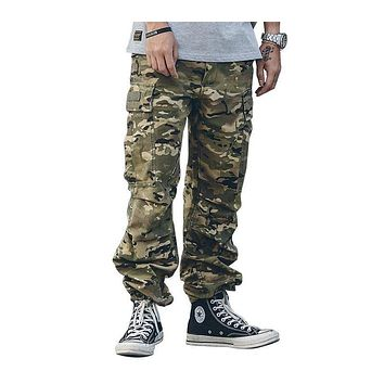 Fashion loose Pant Men cargo pants Jogger Trousers Fashion Fitted Bottoms street wear hip hop Pocket pant