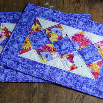 Quilted Placemats - Floral placemats - Spring Summer placemats -  Set of 2