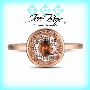Morganite Engagement Ring ~ 1.2ct, 7mm Round Peachy Pink Morganite Bezel Set in a 14k Rose Gold Diamond Setting
