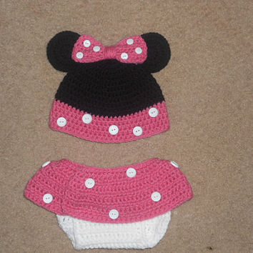 SPRING SALE Minnie Mouse Crochet Hat & Diaper Cover Set