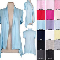 Solid Jersey Draped Shawl Collar Open Cardigan Ruched Short Sleeve Irregular Hem