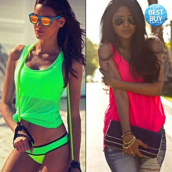 Best Women Summer Sexy Sleeveless Casual Loose Halter Tank Tops Vest Shirt Blouses = 1955907588