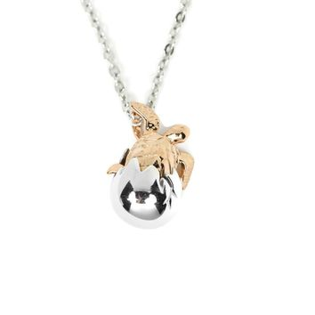 Sterling Silver and Rose Gold Baby Turtle Egg Shell Hatchling Pendant