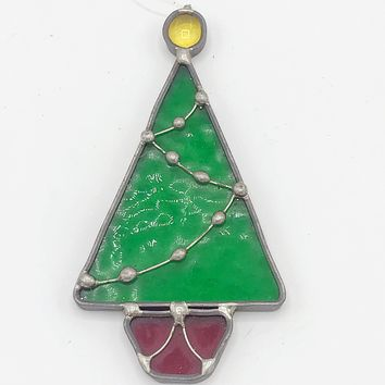 Vintage Christmas Tree Stained Glass Ornament
