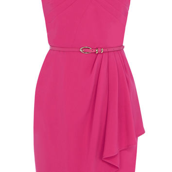 CREPE PLEAT BANDEAU DRESS