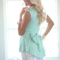 Bow Back Peplum Top Mint CLEARANCE