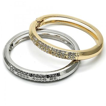 Gold Layered Individual Bangle, with Crystal, Golden Tone