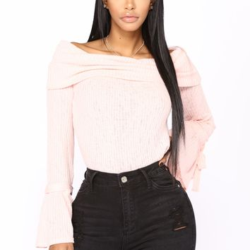 Guard My Heart Off Shoulder Sweater - Pink