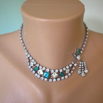 Great Gatsby Jewelry, Emerald Rhinestone Necklace, Green Diamante Choker, Bridal Jewelry, Vintage Wedding Necklace, Green Rhinestones, Deco