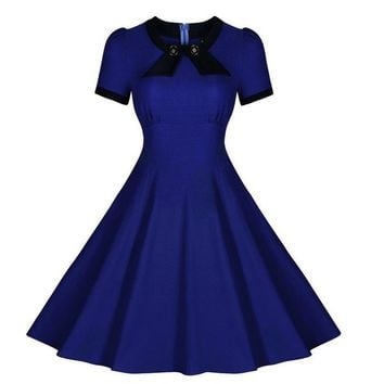Retro Short Sleeve Rockabilly Cocktail Party Swing Dress