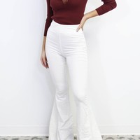 Start Over Corduroy Long Flare White Pants