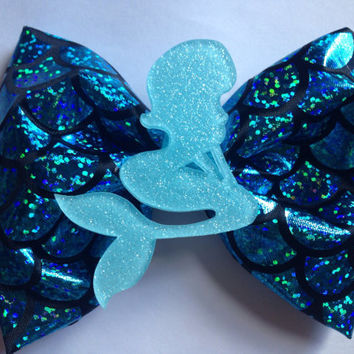 Pastel Blue Mermaid Scales Hair Bow Disney Inspire The Little Mermaid