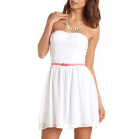 Belted Swiss Dot Tube Dress: Charlotte Russe
