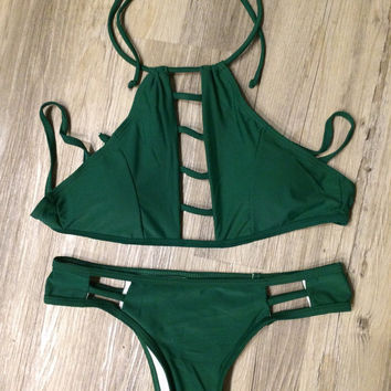 "Small Army Green ""High Neck"" Strappy Low Rise Brazilian Bikini Set (2 Piece Set)"