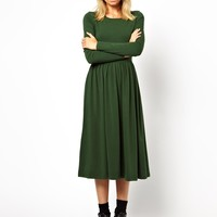 ASOS Midi Skater Dress With Long Sleeves - Black