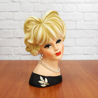 "NAPCO C7474 Large 8.5"" Lady Head Vase, Blonde Updo, Green Eyes, Black Dress with White Floral Brooch, Authentic Vintage Collectible"
