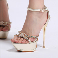 Shining Golden PU Upper Stiletto Heels Peep Toe Women Sandals