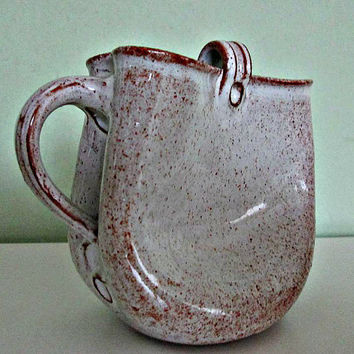 Unique Vintage German Pottery, Ceramic Pitcher, Decanter, Jug, Gramann Romhild?