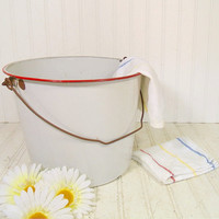 Oversized Shabby Cottage Chic Red on White Enamelware Slop Pail with Metal Handle - Vintage Porcelain Enameled Steel Very Large Scrub Bucket